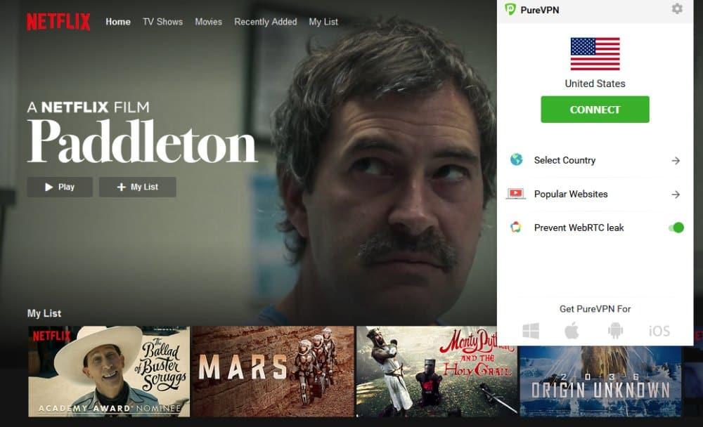Netflix with PureVPN
